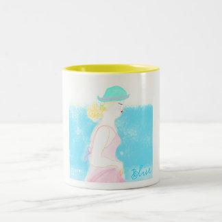 Blue beach service table mug by ORDesigns.