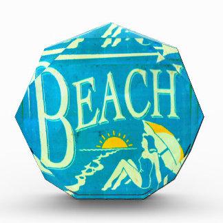 blue beach sign award