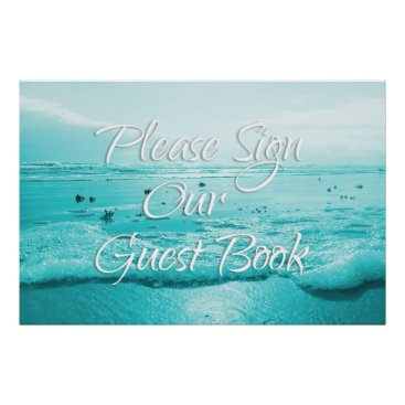 Beach Themed Blue Beach Sign Our Guest Book Table Poster