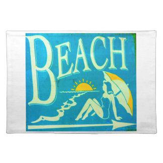 blue beach sign placemats