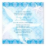 Blue Beach Starfish Hawaiian Summer Wedding 5.25x5.25 Square Paper Invitation Card