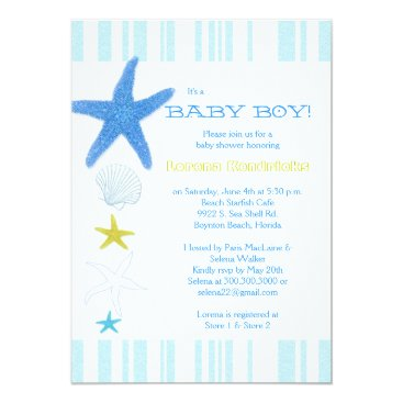 Beach Themed Blue Beach Starfish Striped Baby Boy Baby Shower Card