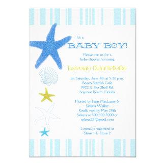 Blue Beach Starfish Striped Baby Boy Baby Shower 5x7 Paper Invitation Card