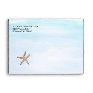 Blue Beach Theme Wedding Invitation Envelope