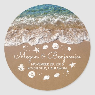 jinaiji Blue Beach Waves and Sand Romantic Summer Wedding Classic Round Sticker