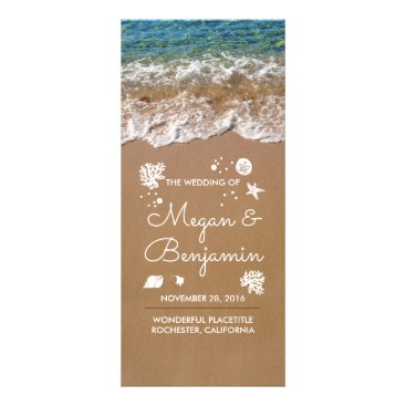 Beach Themed Blue Beach Waves and Sand Wedding Programs