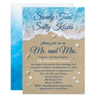 Blue Beach Waves Post Wedding Reception Card