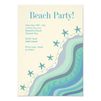 Blue Beach Waves Starfish Summer Party Invitation