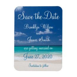 Blue Beach Wedding Save The Date Magnet