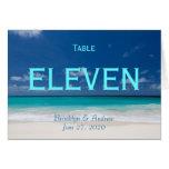 Blue Beach Wedding Table Numbers Card