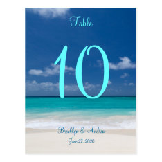 Blue Beach Wedding Table Numbers Postcard at Zazzle