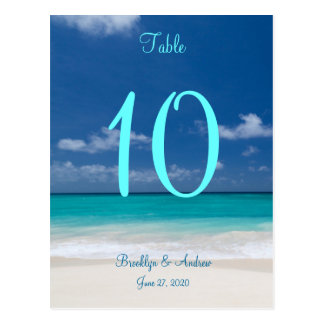 Blue Beach Wedding Table Numbers Postcard