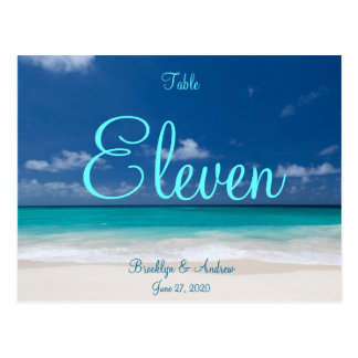 Blue Beach Wedding Table Numbers Postcards