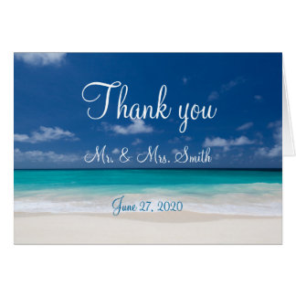 Blue Beach Wedding Thank You Cards