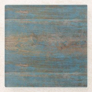 Blue Beach Wood Texture Glass Coaster