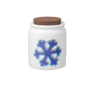 Blue Bead Snowflake Candy Jar
