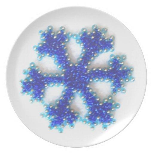 Blue Bead Snowflake Dinner Plates