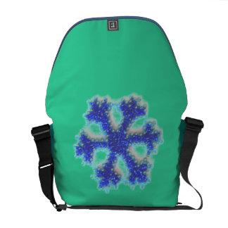 Blue Bead Snowflake Messenger Bag