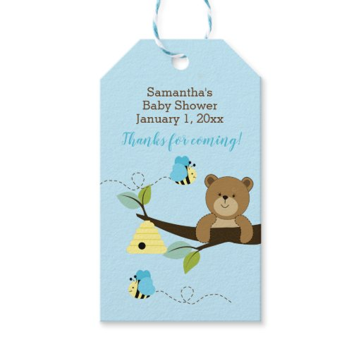 Blue Bear and Bumble Bee Custom Gift Tags