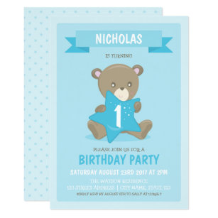Blue Bear Any Age Or First Birthday Invitation