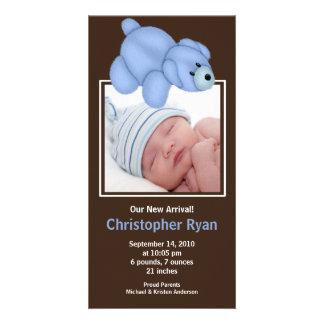 Blue Bear Baby Boy Birth Annoucement Card