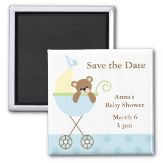 Blue Bear Baby Shower Save the Date 2 Inch Square Magnet