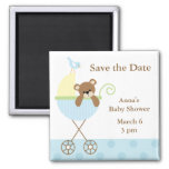 Blue Bear Baby Shower Save the Date Magnets