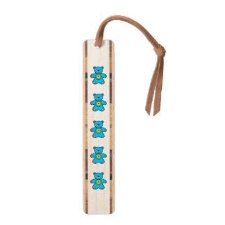 Blue bear cartoon maple bookmark