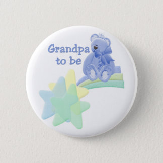 Blue Bear Grandpa to Be Pinback Button