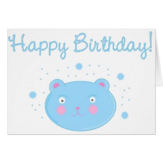Blue bear - happy birthday card