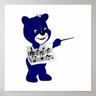 blue bear holding sheet music.png poster