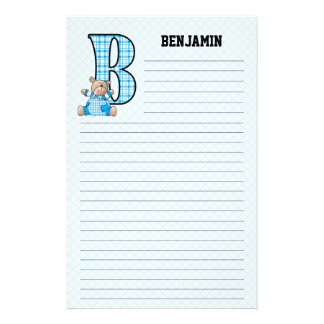 "Blue Bear Mongrammed ""B"" Lined Stationery"