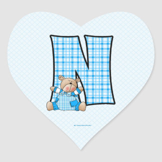 "Blue Bear Monogram ""N"" Heart Stickers"