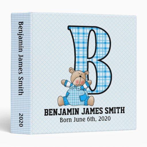 """Blue Bear Monogrammed """"B"""" Baby Scrapbook 3 Ring Binders"""