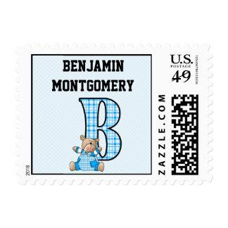 """Blue Bear Monogrammed """"B"""" Kid's Postage"""