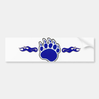 Blue Bear Paw with Flames Bumper Sticker