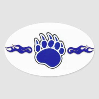 Blue Bear Paw with Flames Oval Sticker