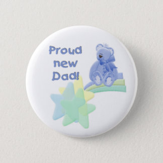Blue Bear Proud New Dad Pinback Button
