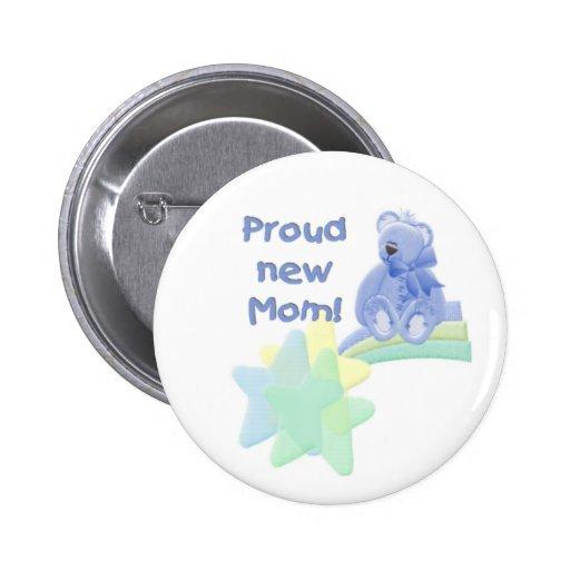 Blue Bear Proud New Mom Pinback Button