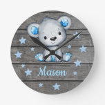 Blue Bear Rustic wooden Acrylic Wall Clock, Round Round Clock
