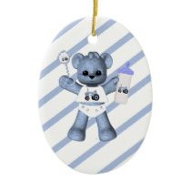 Blue Bear Tractor 1st Christmas Ornament