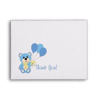 Blue Bear with Plaid Thank You Card Envelope