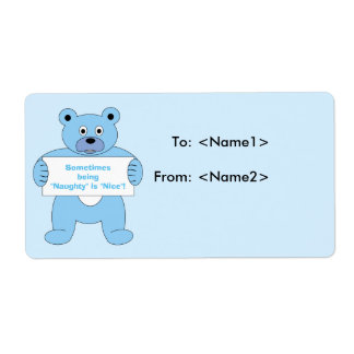 Blue Bear with Sign Naughty is Nice Label