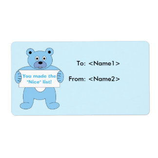 Blue Bear with Sign Nice List Label