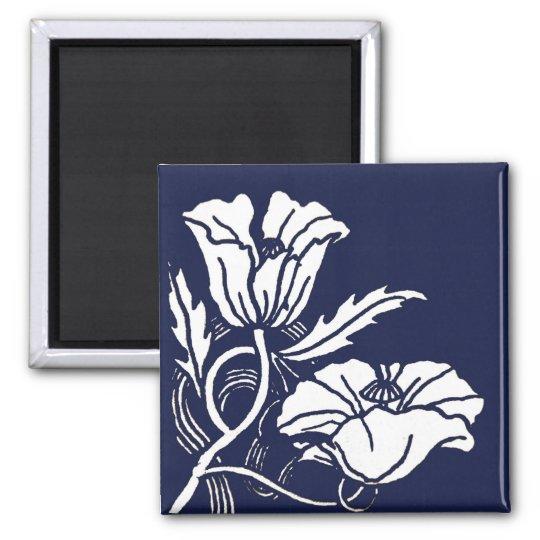 Blue Beardsley Poppies Magnet