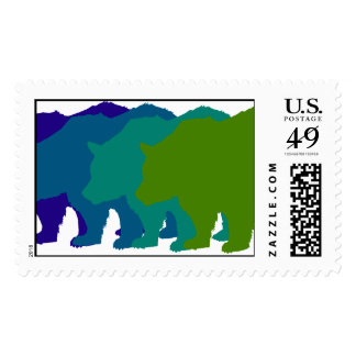 Blue Bears Postage Stamp