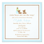 Blue Bears Twins Baby Shower Invitation
