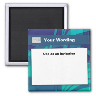 Blue Beauty business cards - customizable 2 Inch Square Magnet