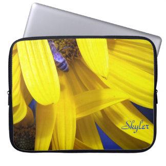 Blue Bee On The Yellow Sunflower Laptop Sleeve