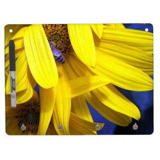Blue Bee On Yellow Sunflower Dry Erase Board